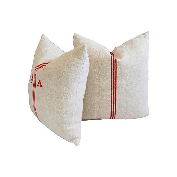 Image of French Grain-Sack Red Stripe Pillows - A Pair