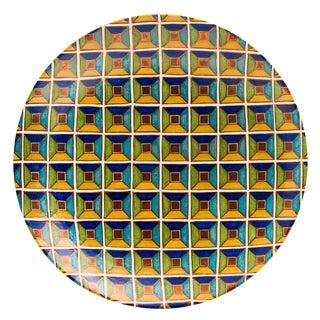 Italian Majolica 3D Square Pattern Copper Glaze Wall Plate