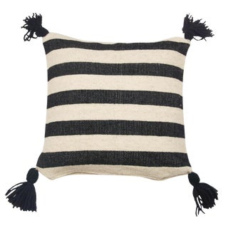 Mexican Black & White Stripe Wool Throw Pillow