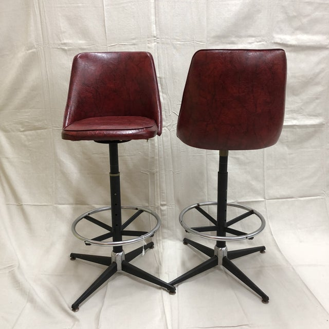 Mid-Century Cosco Swivel Bar Stools - A Pair - Image 9 of 11