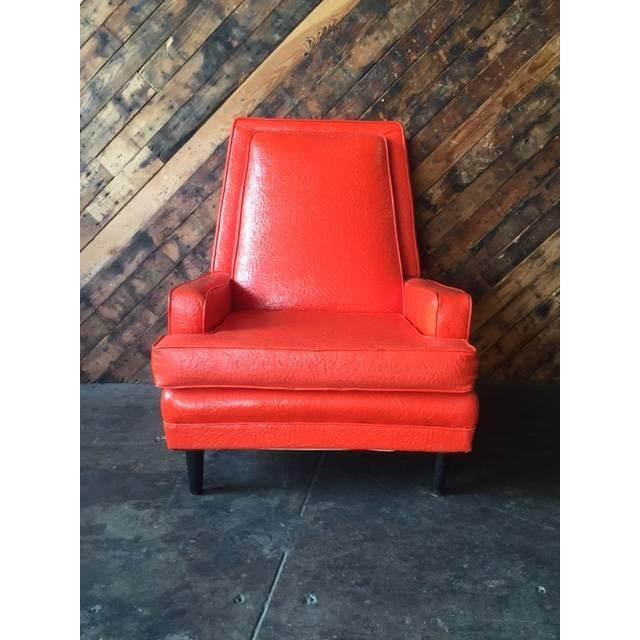 Vibrant Mid Century Orange Vinyl Lounge Chair - Image 2 of 7