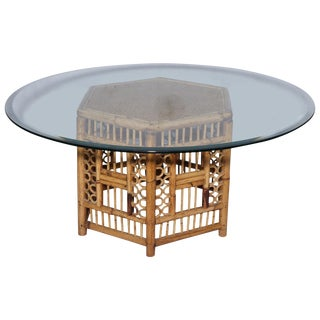 Vintage Rattan Hexagonal Cocktail Table With Glass