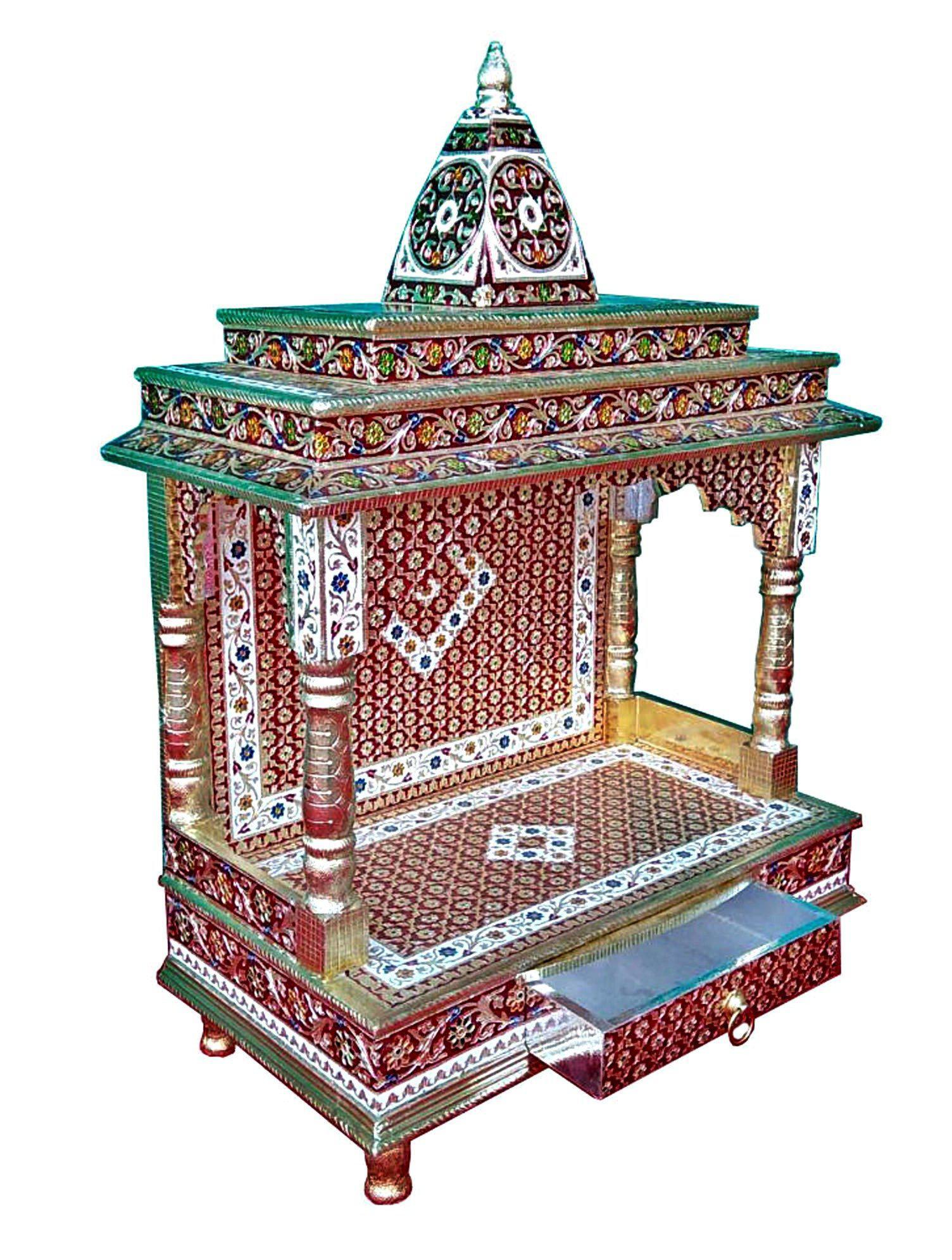 Meenakari Multicolor Home Puja Mandir Hindu Temple Mandapam Altar   Image 2  Of 3