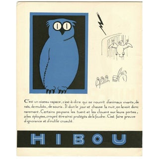 1930s French Art Deco Owl Print