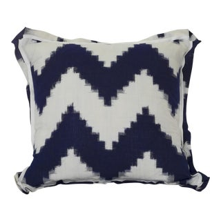 Dark Navy & Off-White Chevron Pattern Ikat Pillow