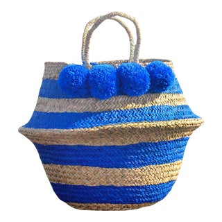 "Brunna ""Stripes Tribes Classic"" Pom-pom Beach Straw Basket Bag, in Blue"