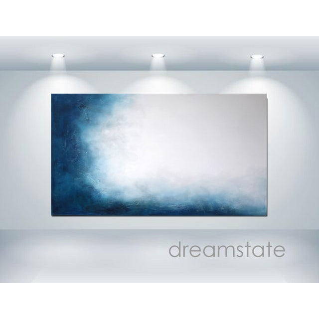 Large Original Textured Abstract Painting Dreamstate Blue Grey White Wall Hanging - Image 4 of 4