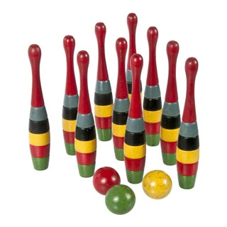 Vintage 1920s Wooden Ten-Pin Bowling Game