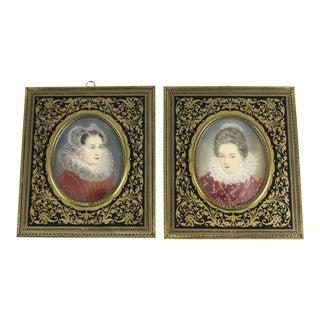 Circa 1920 Continental Miniature Porcelain Female Portraits - A Pair