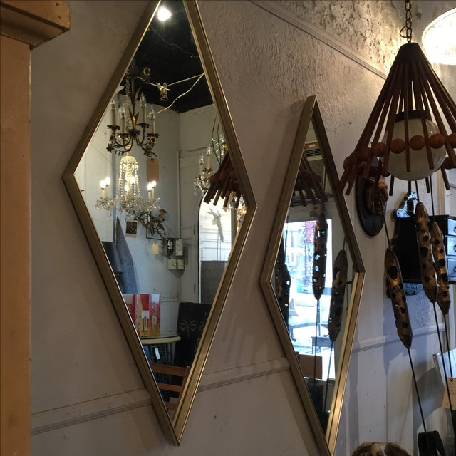 Mid-Century Brushed Metal Mirrors - A Pair - Image 3 of 4