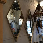 Image of Mid-Century Brushed Metal Mirrors - A Pair