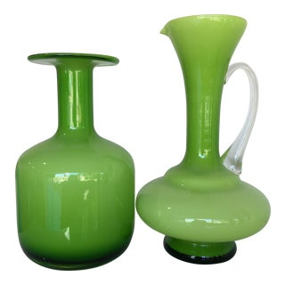 Lime Green Glass Vessels - A Pair