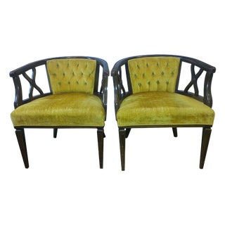 Hollywood Regency Tufted Barrel Back Chairs - Pair