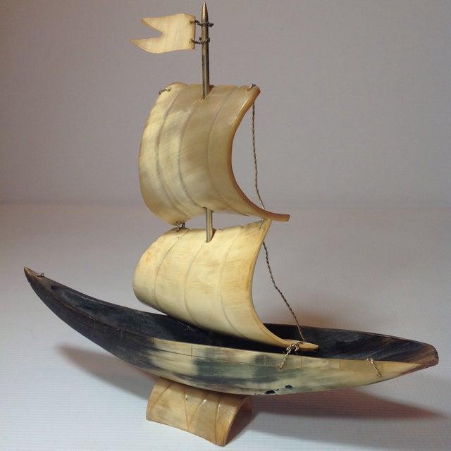 Vintage Bone Boat Sculpture - Image 2 of 5