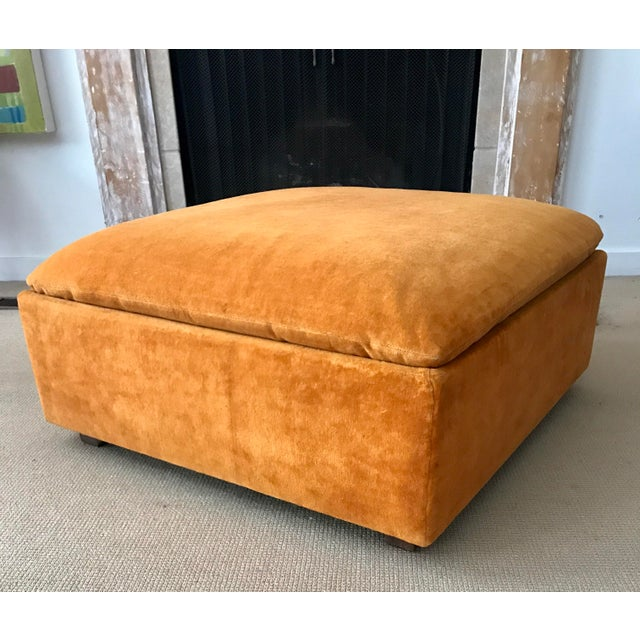 Vintage Mid-Century Orange Velvet Ottomans - A Pair - Image 7 of 10