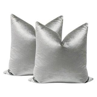 """22"""" Platinum Silk Velvet Pillows - a Pair"""