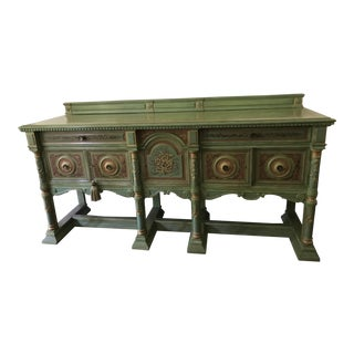Carved Wood Green Painted Buffet