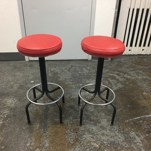 Vintage Red Barstools by Howells of St. Charles Illinois - A Pair - Image 2 of 8
