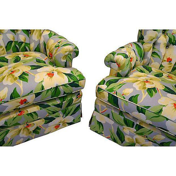 Mid-Century Floral Print Button Tufted Chairs - A Pair - Image 5 of 5