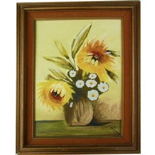 'Yellow Flowers' Original Painting, Signed 1977