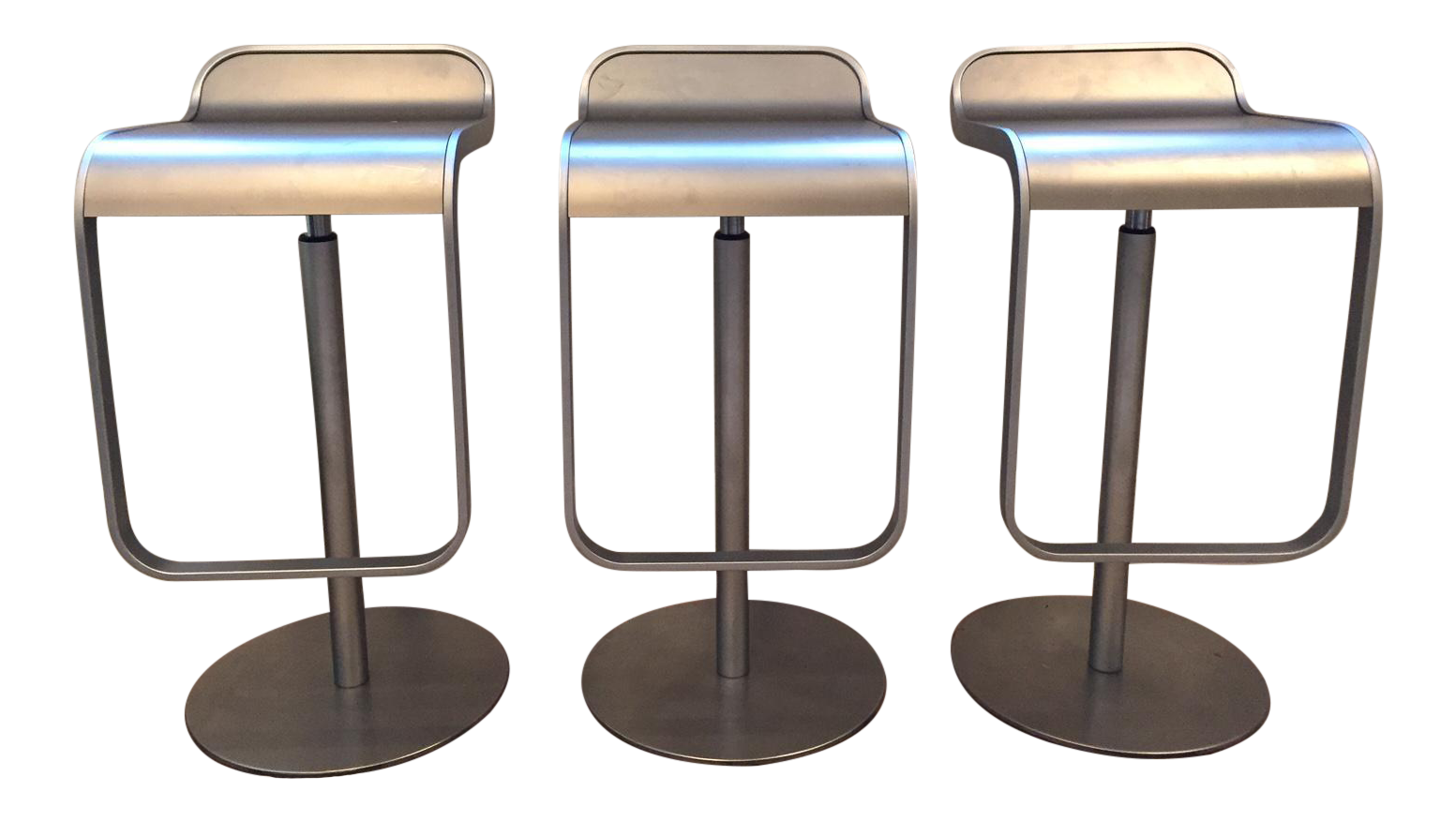 Lem Piston Stainless Steel Bar Stools Set Of 3 Chairish