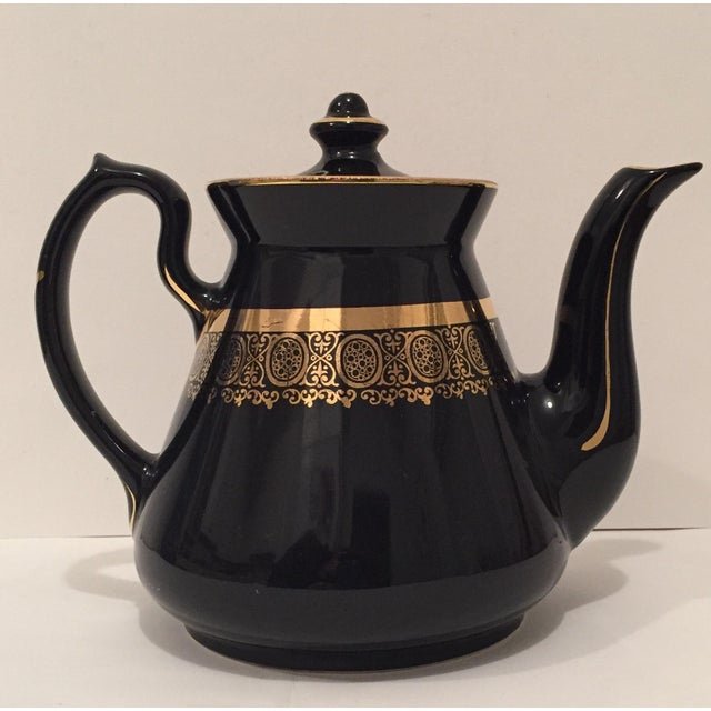 """Black and Gold Hollywood Regency """"Hall Usa"""" Teapot - Image 2 of 9"""