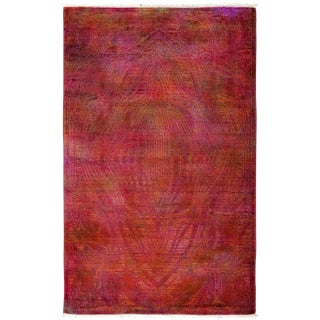 "Vibrance, Hand Knotted Contemporary Red Wool Area Rug - 4' 0"" X 6' 3"""