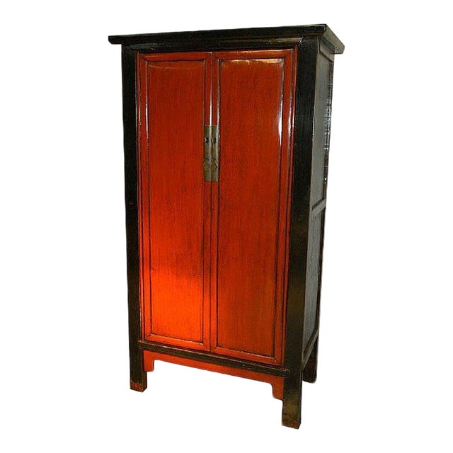Antique Chinese Red & Black Armoire - Image 1 of 8