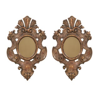 Pair of Italian Cartouche Shaped Painted Wood Mirrors with Traces of Gilding