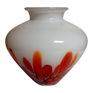 Murano Czech Charcoal & Orange Cased Glass Vase