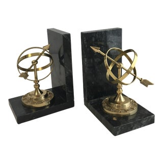 Armillary Marble and Brass Bookends - a Pair