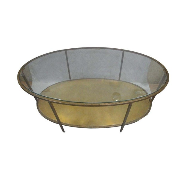 Oval Glass Top Coffee Table With Metal Base: Metal Oval Hammered Coffee Table With Glass Top
