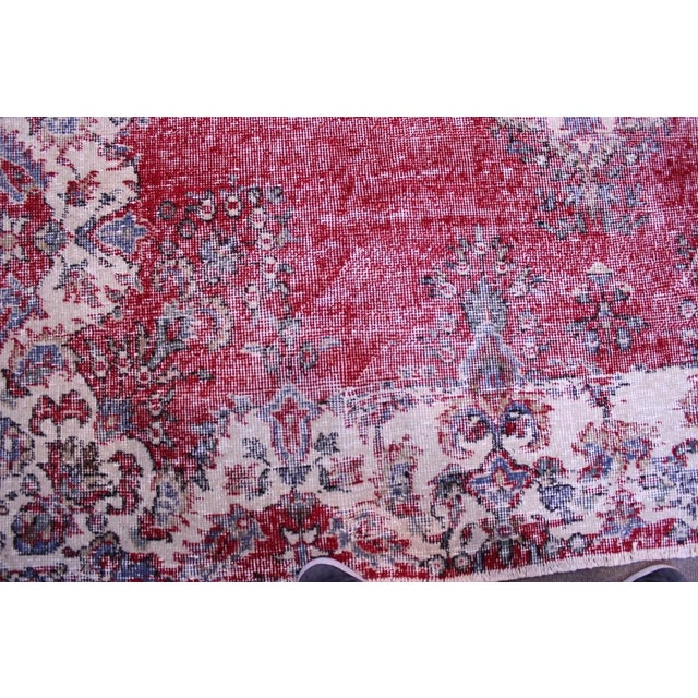 "Distressed Turkish Rug Decorative Rug, 6'1"" X 9'8"" - Image 4 of 8"