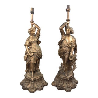 Tall Gold Man & Woman Figural Lamps - A Pair