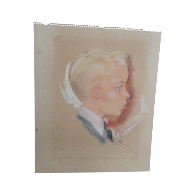 Image of Vintage Pastel Portrait of a Blond Boy
