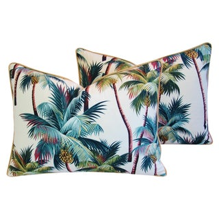 Designer Tropical Coconut Palm Tree Pillows - Pair