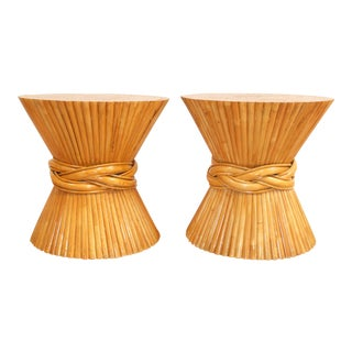 McGuire Bamboo Wheat Sheaf Side Tables - A Pair