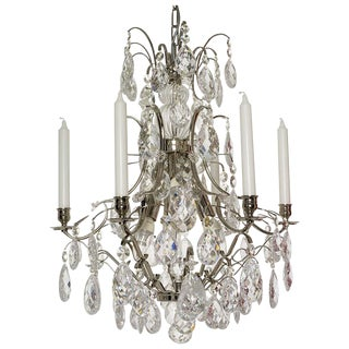 Baroque Chandelier, 6 Nickel Cracked Almonds