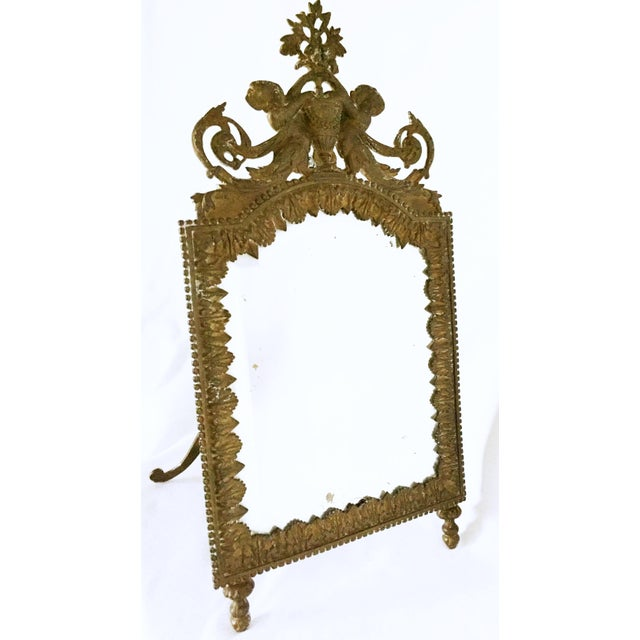 Image of Antique Brass Cherub Table Top Easel Back Mirror