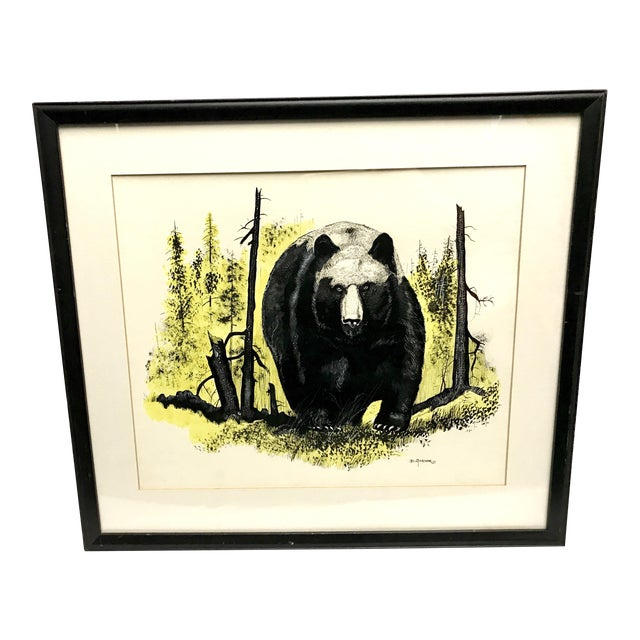 Vintage Ink & Watercolor Black Bear Painting - Image 1 of 10
