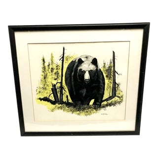 Vintage Ink & Watercolor Black Bear Painting