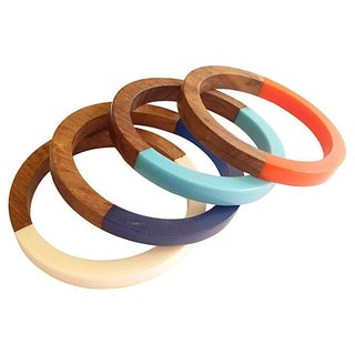 Wood & Lucite Bangles - Set of 4