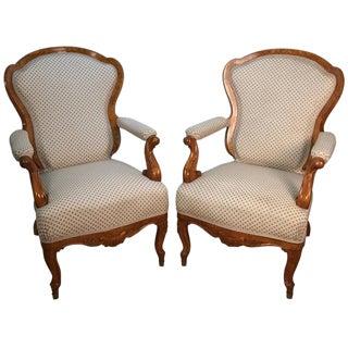 Russian Biedermeier Burl Wood Armchairs - A Pair