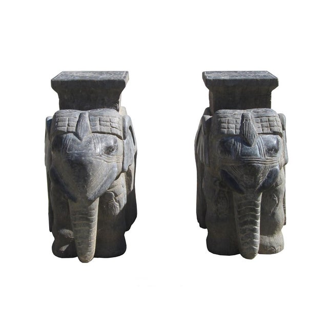 Carved Chinese Solid Stone Elephant Statues - 2 - Image 1 of 6