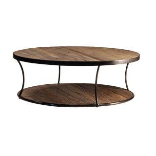 Round Wood & Iron Coffee Table