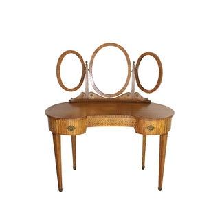 Vintage 1870s Birdseye Triple Mirror Maple Vanity
