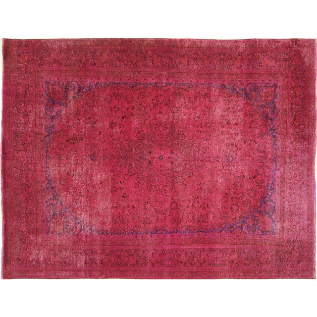 Image of Pink Floral Overdyed Oriental Area Rug - 9' x 12'