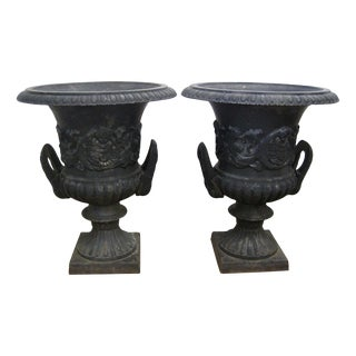 Black Cast Iron Urns - A Pair
