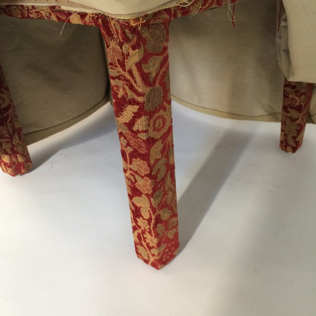 Red & Gold Brocade Dining Chairs - A Pair - Image 6 of 8
