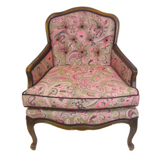 French-Style Tufted Pink Paisley Chair
